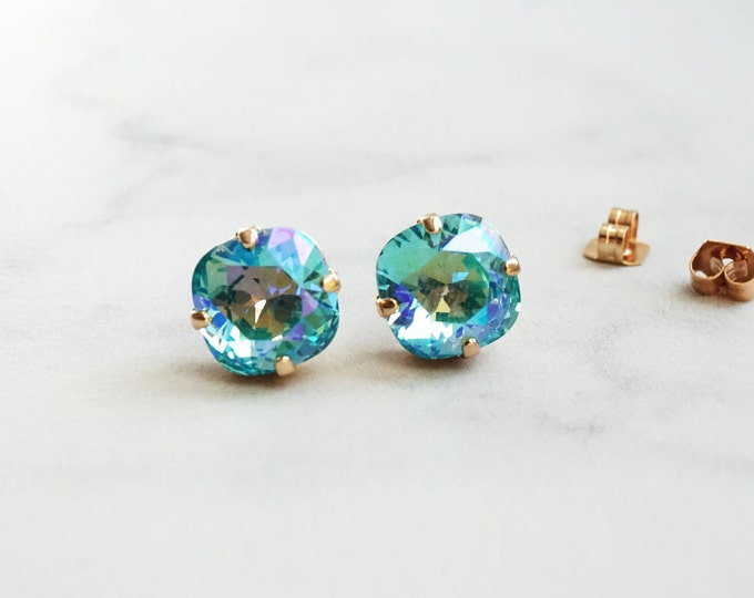 Crystals from Swarovski® - Light Turquois Glacier Blue - Pecoc Blue - 10 mm Square Studs - Rose Gold Earrings - Bridal Jewelry - Bridesmaids