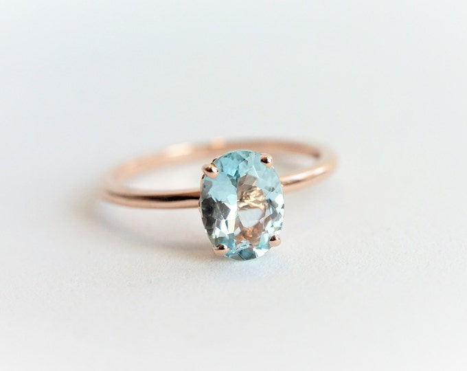 Fleur de lis - Rustic 8 x 6 mm Natural Aquamarine/Solid 14K Rose Gold, Sterling Silver/Hammered Band, March Birthstone Ring, Stackable Ring