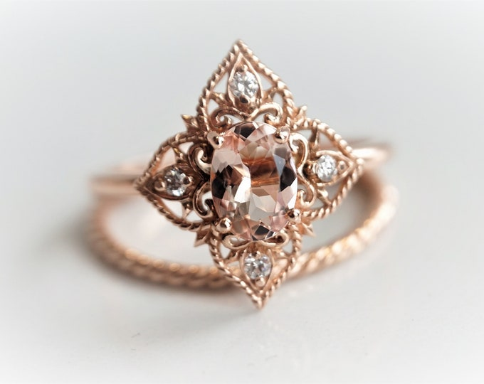 Elizabeth - Vintage-Inspired Natural Pink Morganite and Diamond solid 14k Gold/ Filigree Ring/Morganite Engagement Ring
