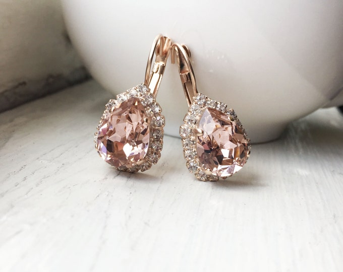 Crystals from Swarovski® - Rose Gold Earrings - Blush Pink- Vintage Rose -Dangling Leverback Earring - Bridesmaid Gift - Bridal Jewelry