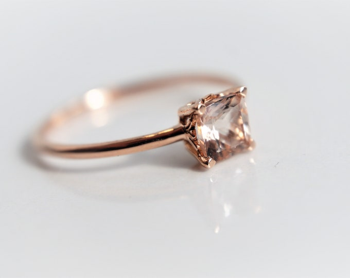 Fleur de lis - Cushion Cut Morganite Solid 14k Gold, Morganite Solitaire Ring, Morganite Engagement Ring