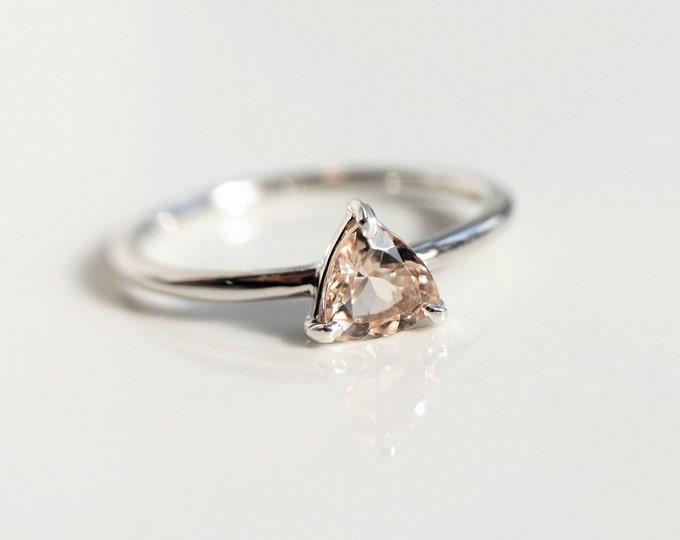 AVA - Morganite Trillion, 14k Morganite Ring, Morganite Engagement ring, Morganite Rose Gold ring, Morganite Diamond ring