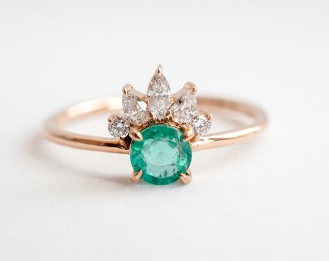 Everett - Natural Emerald, solid 14k Gold Emerald and Diamond, Emerald Crown Ring, Emerald Diamond Ring, Emerald Engagement Ring