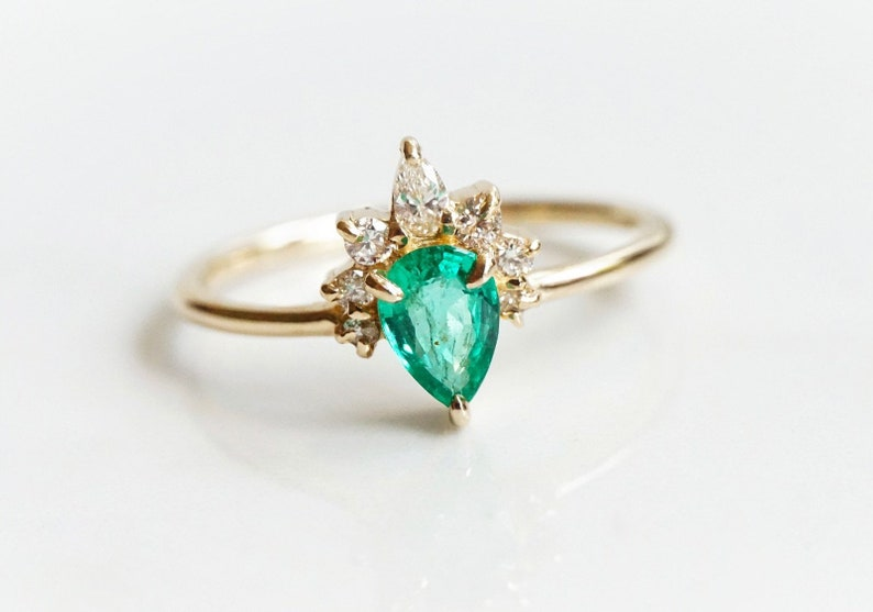 Ophelia  Natural Emerald  solid 14k Gold Pear Emerald image 0