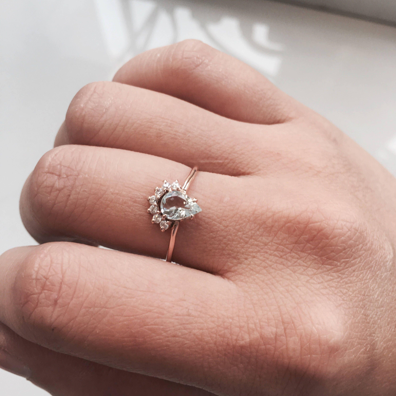 Lily - Pear Aquamarine & Diamond solid 14k Gold, Aquamarine Crown ...