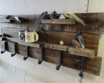 Wall Coat Rack w/Shelves, Rustic, Reclaimed, Pallet Wood, Country
