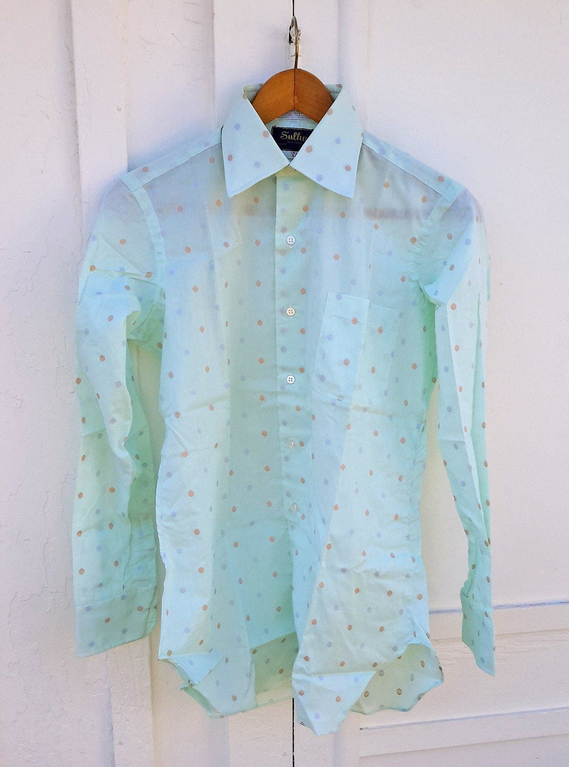 Vintage Sulka Mens Dress Shirt Never Worn Mint Geen Polka Etsy