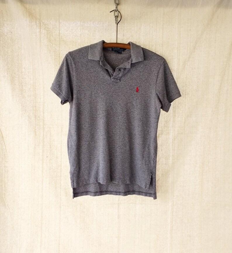 Polo Ralph Lauren Heather Gray Black Polo Shirt Custom Fit  62e85f805