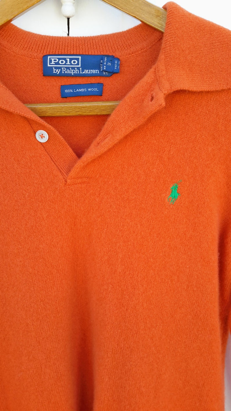 Sweater 90's Ralph Classic Orange Size Winter Med Halloween Pumpkin Fall Pullover Lambswool Vintage Polo Lauren W9I2YDHeEb