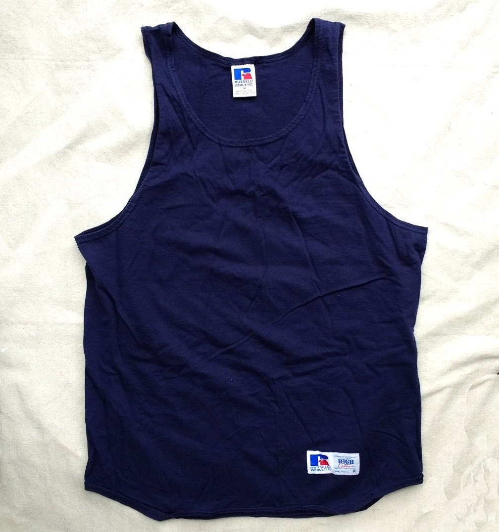 40eb4308e7d53 Vintage Russell Athletic Muscle Tank Top Navy Blue Men s