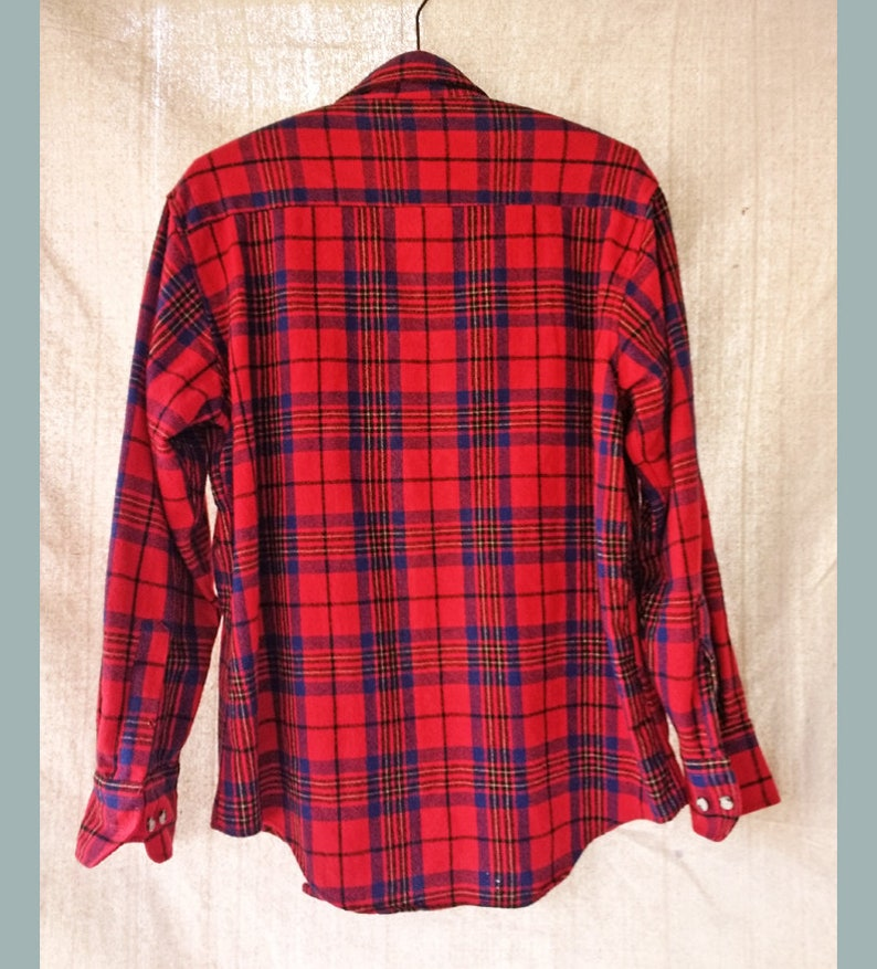 89eb6005031d5 70 s 80 s Wool Plaid Flannel Shirt w  Chest Pockets St