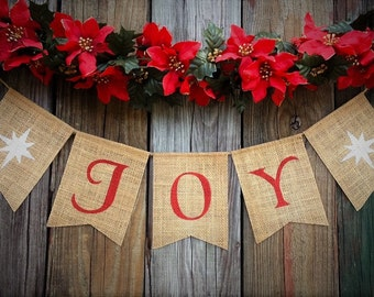 Christmas Banner, JOY Banner, Burlap Christmas Decoration, Burlap Holiday Banner, Holiday Decor, Mantel Decoration, Christmas Garland