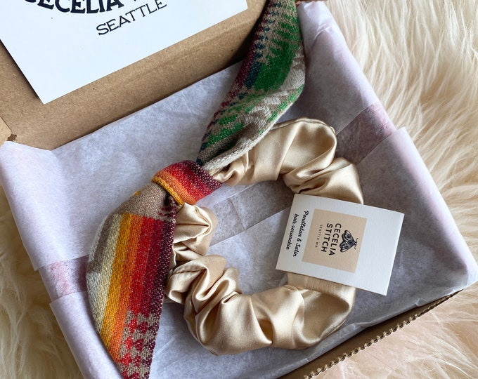 Knotted bow scrunchie - Pendleton and Satin
