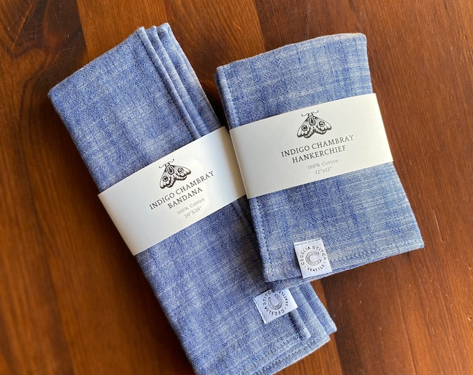 Indigo Double Cloth Chambray Hankerchief or Bandana