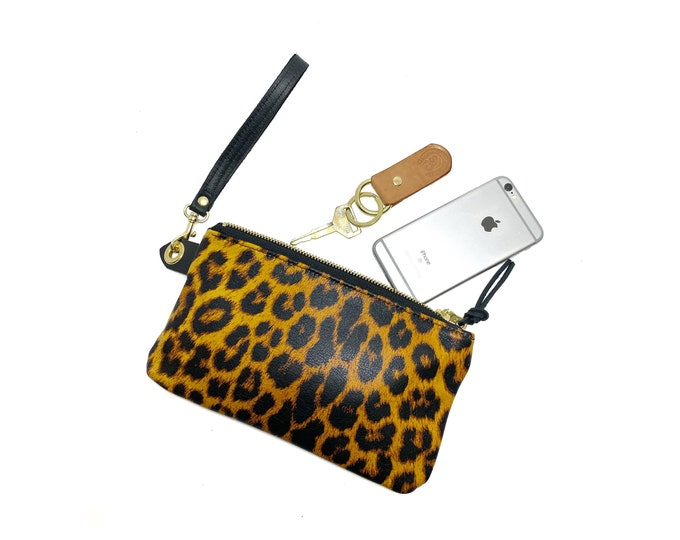 Stella Leather Clutch - Cheetah Pattern on cow hide