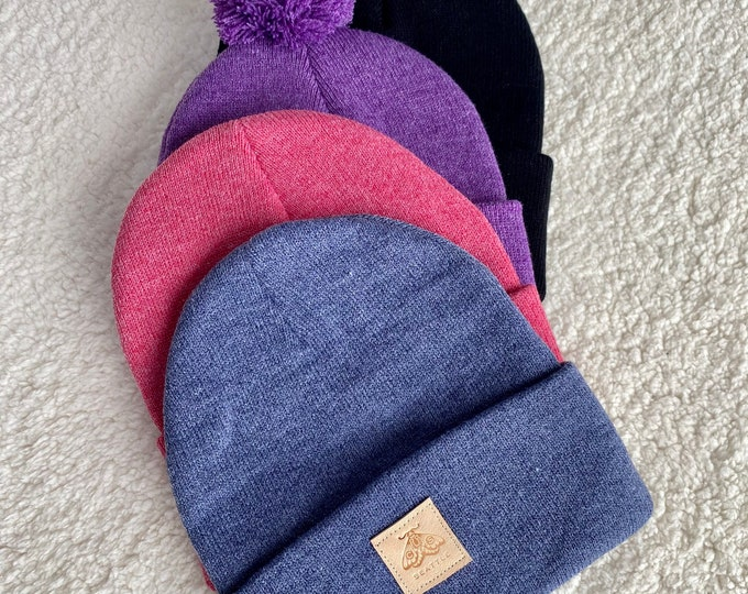 Fold up cuff Beanie Hat - Acrylic with leather tag