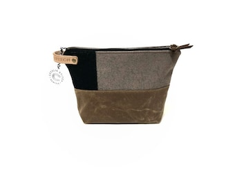 Wool and Waxed Toiletries bag - brown and black