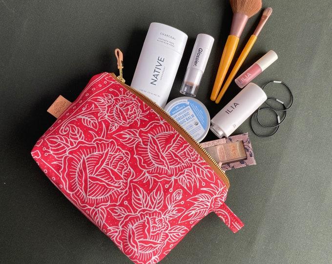 Lucky Rose Canvas Organizer - Toiletries bag - Makeup bag 2 sizes