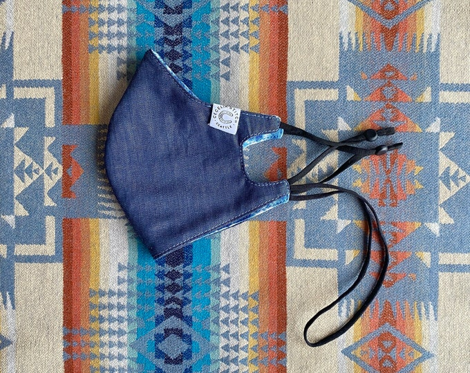 Dark Chambray care mask - with a cotton Shibori print lining and neck loop
