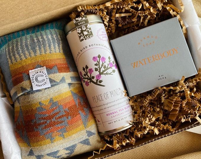 Rejuvenate - Silk and Pendleton eye pillow with lavender & flax, artisan soap, herbal tea