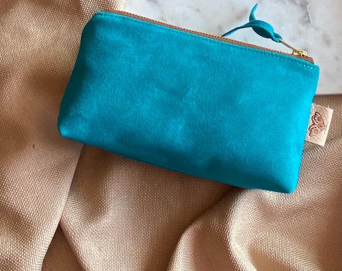 Suede Petite cosmetics bag