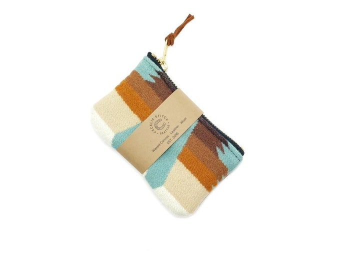 PNW Wool zipper card wallet - Tucson Aqua