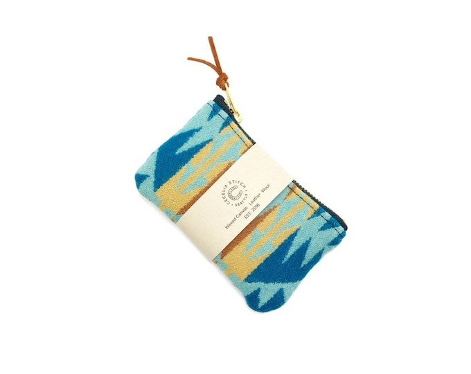 PNW Wool zipper card wallet - Rancho Aqua
