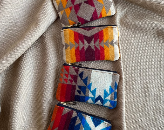 PNW Wool & Leather zip wallet - Assorted Pendleton brights