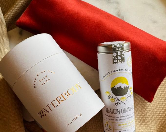 Relax gift set - Silk & Pendleton eye pillow, Bath Salt, Chamomile tea
