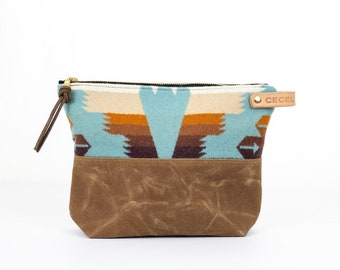 Wool and Waxed Toiletries bag - Tucson Aqua