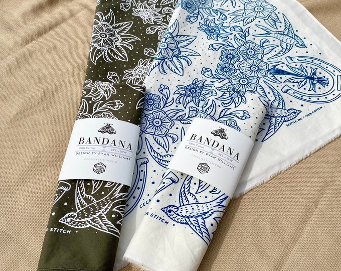 Cotton Bandana - Floral Swallows handmade in Seattle with brushed twill & discharge printed scarf