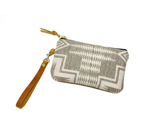 Wren Waxed canvas and wool clutch