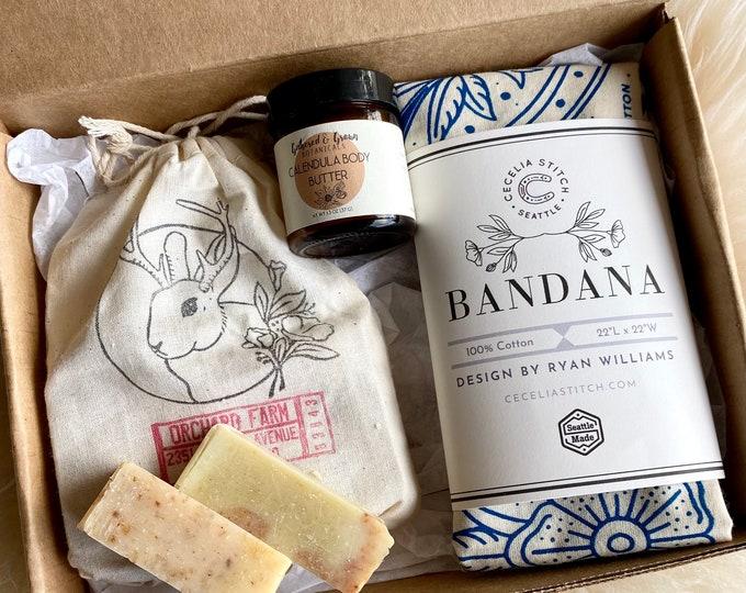 Gift Box - Floral Bandana, handmade natural soap, Calendula body lotion