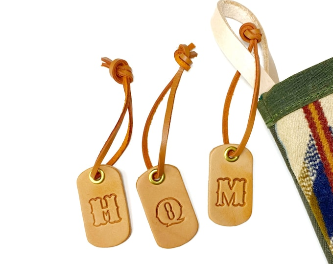 Custom Leather Stocking Tag - One initial