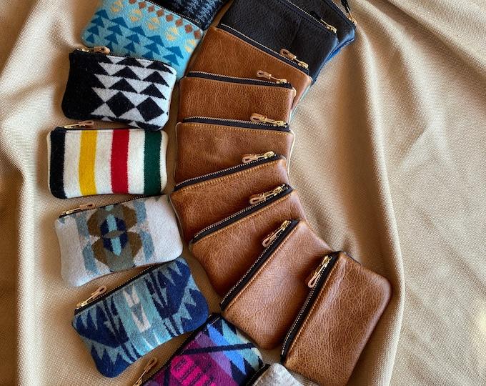 PNW Wool & Leather zip wallet - Assorted Pendleton patterns