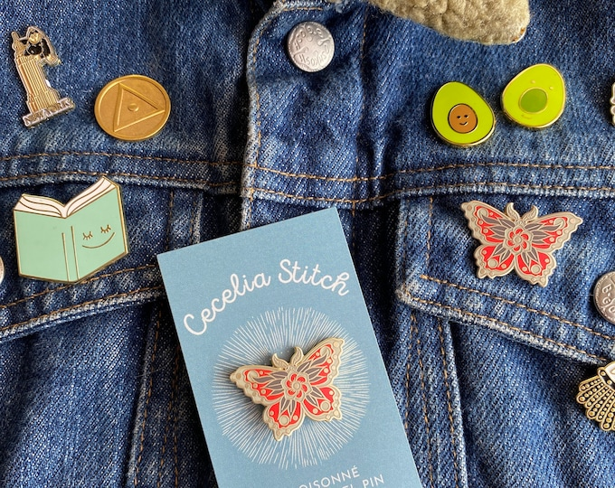 Lucky moth brass pin - hard enamel cloisonné pin, Moth Enamel Pin, Butterfly Pin, Insect Bug Pin, Matte Brass Pin, Lapel Pin