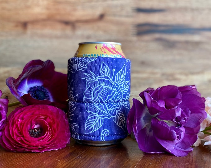 Lucky Rose Blue Can Cooler - With Recycled canvas