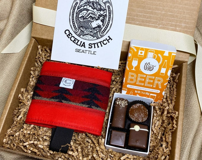 Beer lover gift set - Waxed Canvas Can Cooler and Theo Chocolate box