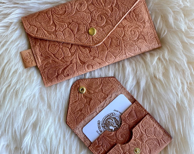 Floral Hazel - Embossed leather clutch wallet or small wallet