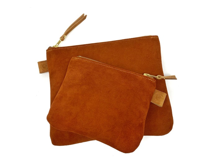Rust Suede Leather Organizer - set of 2