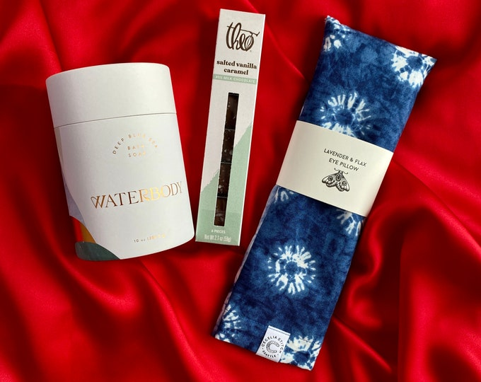 Relax gift set - Eye pillow & bath salts with caramels