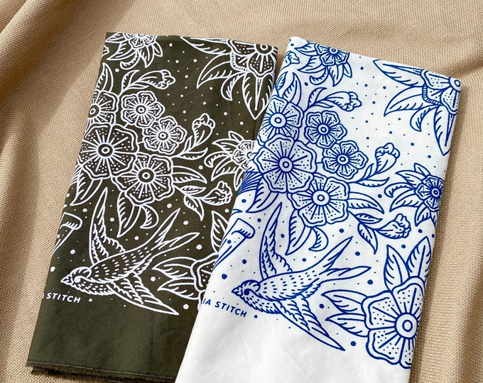 Cotton Bandana - Floral Swallows handmade in Seattle with brushed twill & discharge print