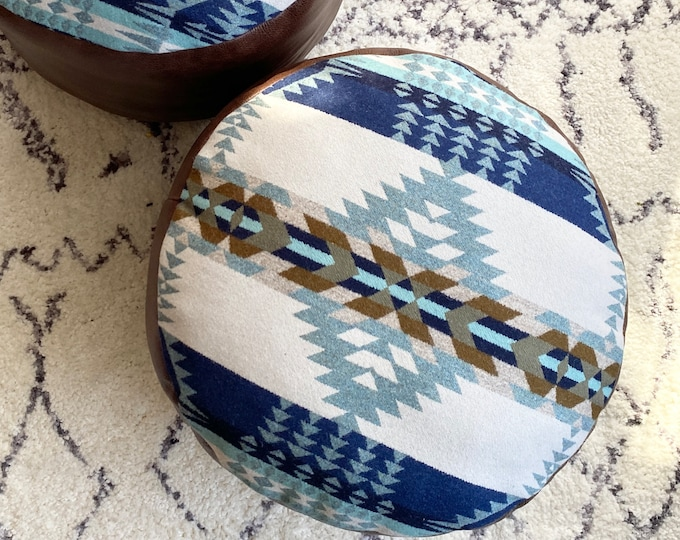 Custom Large Pouf - Leather & Pendleton wool - floor cushion