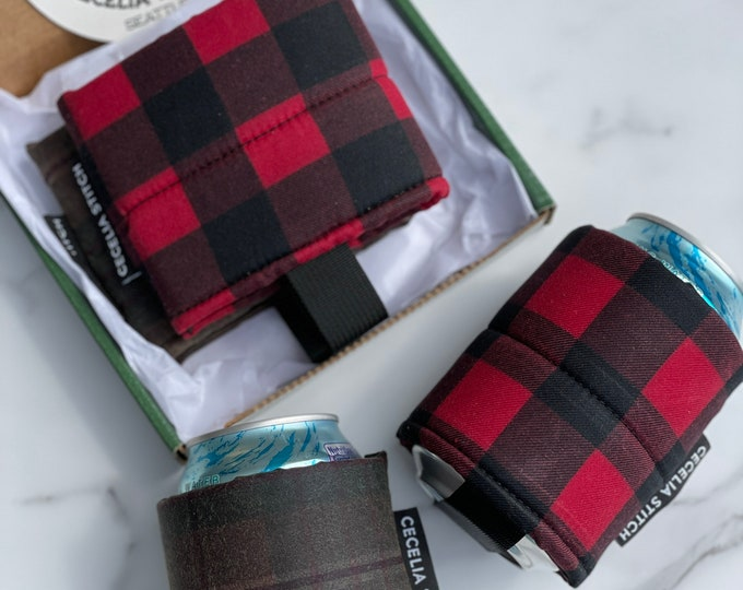 Waxed canvas can cooler - Buffalo Check and Olive Plaid Father's Day box