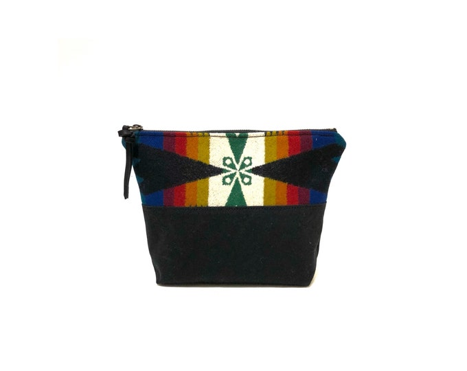 Lined Wool and Waxed Toiletries bag - Rainbow