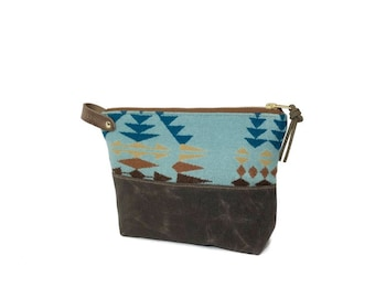 Wool and Waxed Toiletries bag - Rancho Aqua