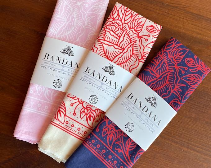 Lucky Rose - Floral Bandana 100% Cotton & discharge printed, summer bandana