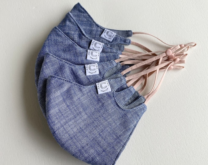 Chambray Care Mask - Millennial pink elastic