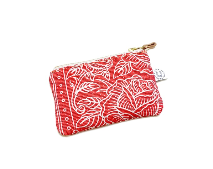 Lucky Rose zip wallet - Natural canvas
