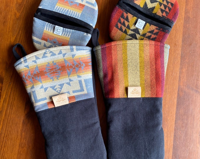 The Baker set - brushed canvas and Pendleton wool oven mitt & potholder